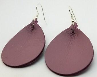 Mauve Real Leather Teardrop Earrings