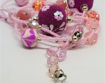 Pink Seed Bead Lanyard with Pink Beads and Magnetic Safety Clasp, Lots of Bling