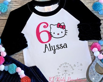 29192bdb8 Hello Kitty Birthday Shirt, Hello Kitty Sixth Birthday Shirt, Hello Kitty  Shirt