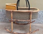 Moses basket Baby Basket Baby nest African Moses basket Bolga basket Nursery decor Baby mobile African basket Baby bassinet