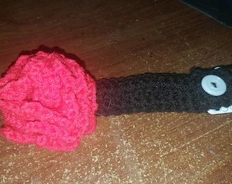 Crochet rosette adjustable headband