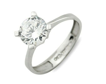 d0db48f8f3d7 Anillo De Mujer En Oro 14k Blanco Con Diamante Simulado 1.25 ct D-VS1+ Ex  Cut