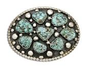 VTG Navajo Indian Montoya Natural Turquoise Handmade .925 Silver Belt Buckle