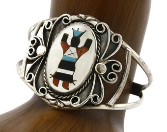 Rad Old Pawn Navajo Twisted Rope Double Stone Mother of Pearl and Turquoise Feather Blossom Scroll Cuff Bracelet By Gerald Mitchell