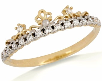 Women/'s .25 ct Solid 14k Yellow Gold Fancy Crown Ring