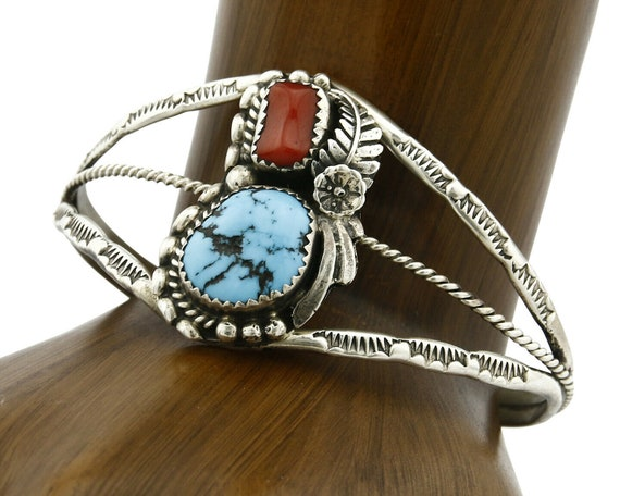 vintage solid 925 silver cuff with turquoise inlay Native American Sterling silver handmade bracelet 560057 silver Tested 6.25