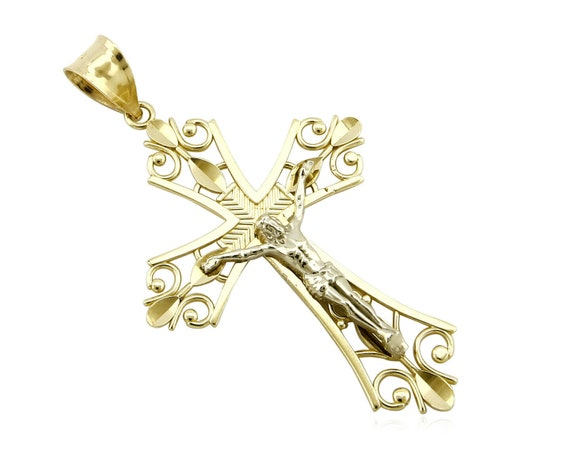 14k Solid White Gold Gorgeous 14k Solid Gold Jesus Cross Pendant with White Gemstones P1479