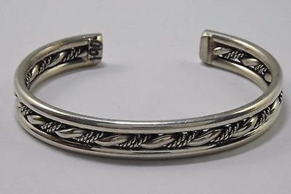 1970/'s-1980/'s Unworn Navajo Indian Handmade Multi Row Cuff .925 Silver Bracelet