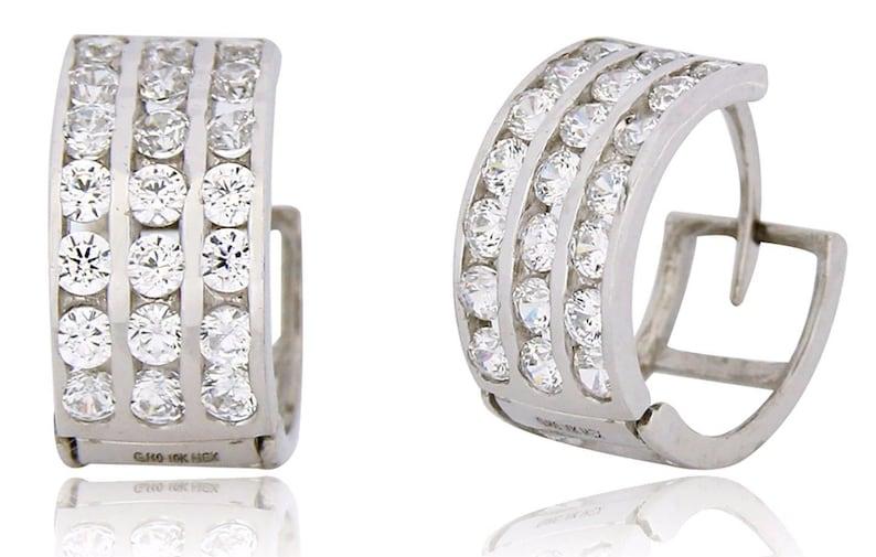 Women/'s 1//3 TCW Simulated Diamonds in 10k SOLID White Gold Huggie Hoop Earrings