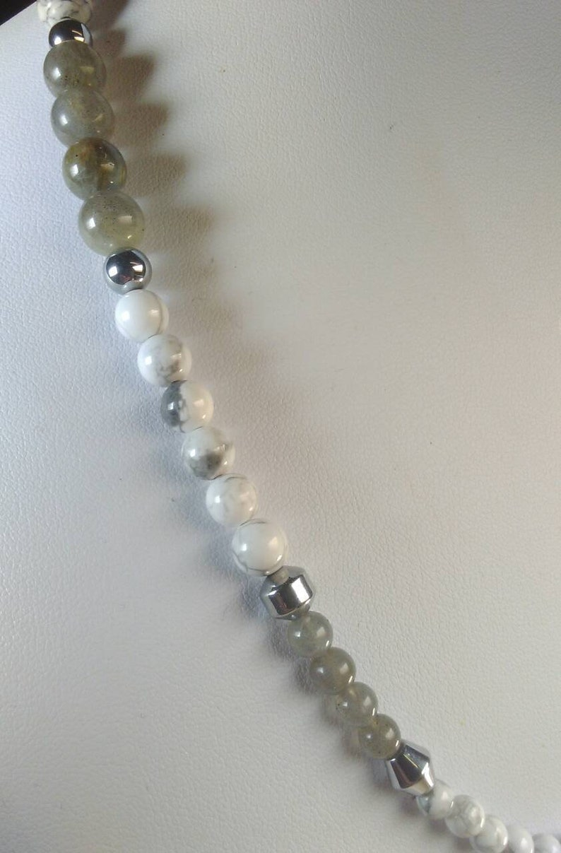 free matching ear rings Labradorite and White Howlite beads Natural Black  Gray Druzy Quartz Geode Slice coated in silver necklace