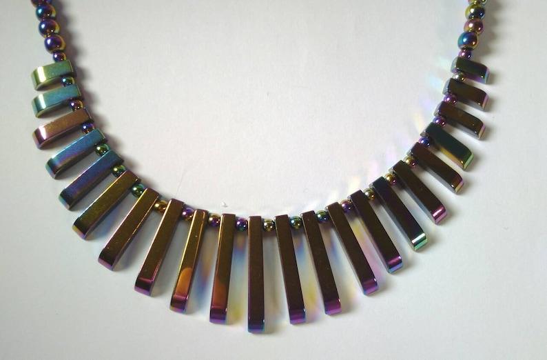 Rainbow Hematite multi drop crystal necklace plus free ear rings
