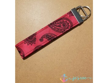 Red Paisley Key Fob