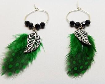 Green Guinea Feathers w/leaf charm