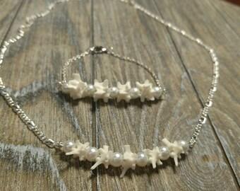 Rattlesnake Vertebrae Necklace and Bracelet set