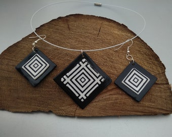 Black and white set distinguished, handmade, polymer clay