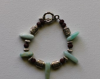 Wooden bead and stone bracelet.