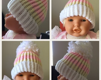 Pink and Yellow Baby Beanie