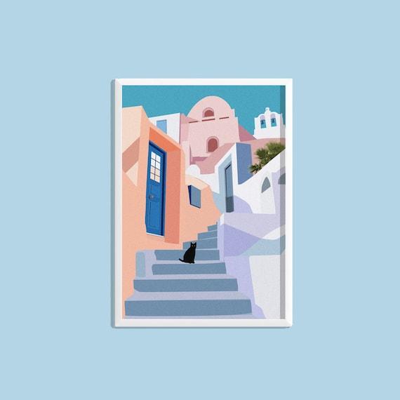 210 x 297mm Santorini Greece Home Decor Canvas Print A4 Size