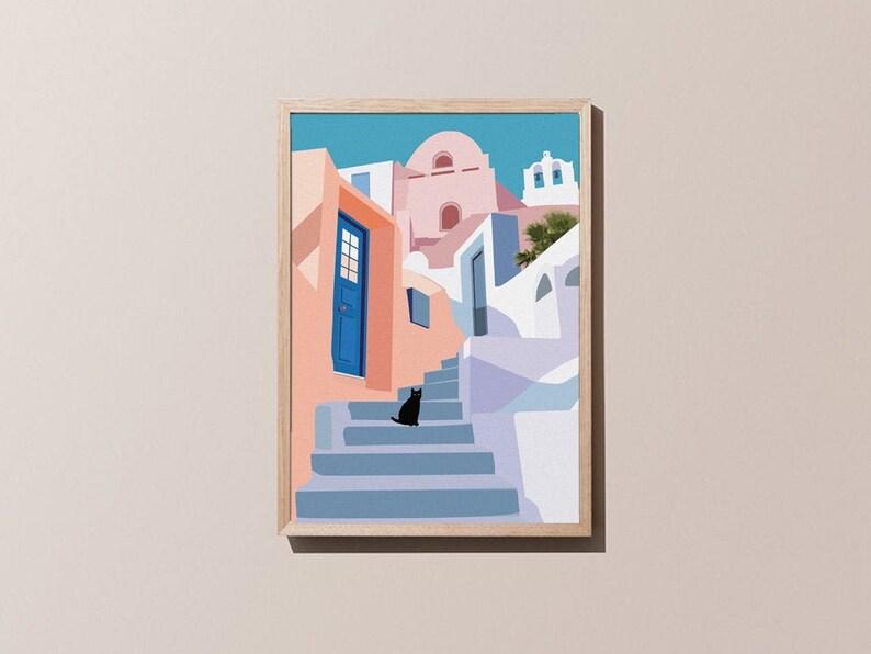 Santorini Cat Print A4/A3 Geometric Art Travel Poster image 1