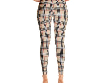 Red and Black Plaid Leggings. tartan Red  Leggings for fashion, workout, yoga ,woman's