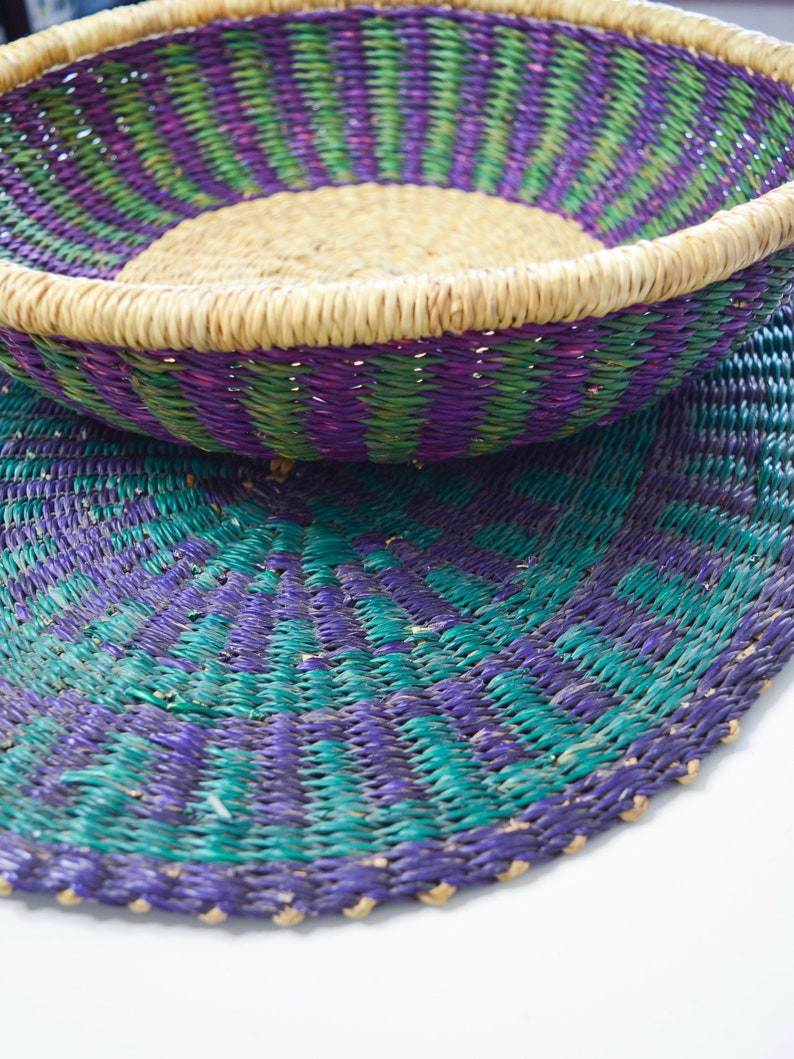 Purpleteal Large Handwoven Bolga Placemat Woven Basket Woven Wall Hanging African Hand Woven Home D U00e9cor