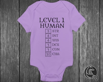 4d527f1bcfb3 Gaming Baby Onesie® - Level 1 Human - Ability Stats Featuring High Charisma  - Dungeons And Dragons - DND - Role Playing Game - RPG LVL One