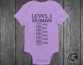7e09226e666 Gaming Baby Onesie® - Level 1 Human - Ability Stats Featuring High Charisma  - Dungeons And Dragons - DND - Role Playing Game - RPG LVL One