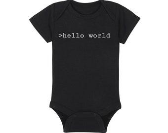 Coding Baby Onesie® - >hello world - HTML Computer Nerd Geek Bodysuit