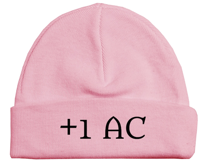 Girl Boy Hat Gives Plus One Armor Class RPG Gamer Role Playing Game +1 AC DND Dungeons And Dragons Gaming Baby Beanie Hat