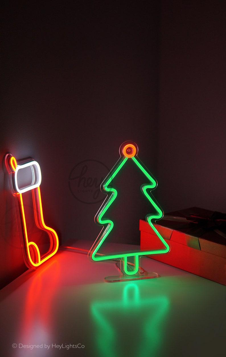 Happy Holidays X-Mas New Year Christmas Tree LED Neon Sign