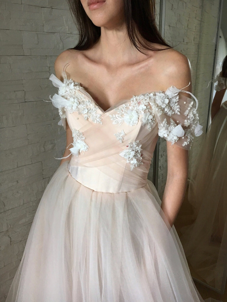 7ea0332a20c Blush wedding dress with 3D floral lace Pink wedding dress Off