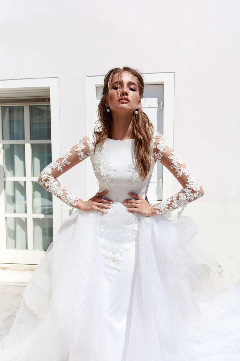 338f2fc88683 Mermaid wedding dress detachable train Mermaid wedding dress | Etsy