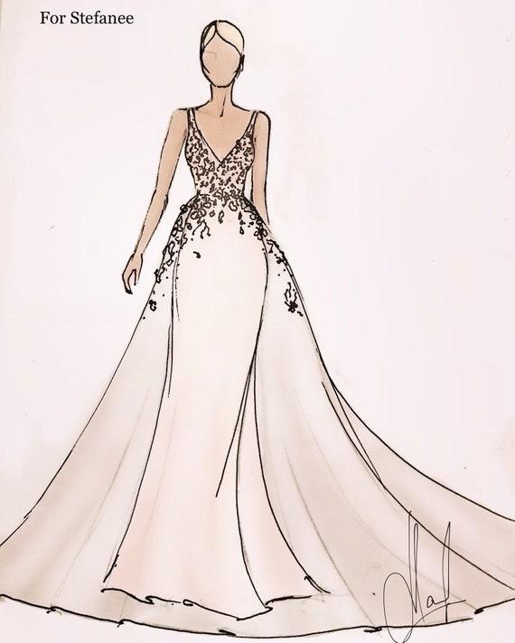 Сustom Sketch Wedding Dress Wedding Illustration