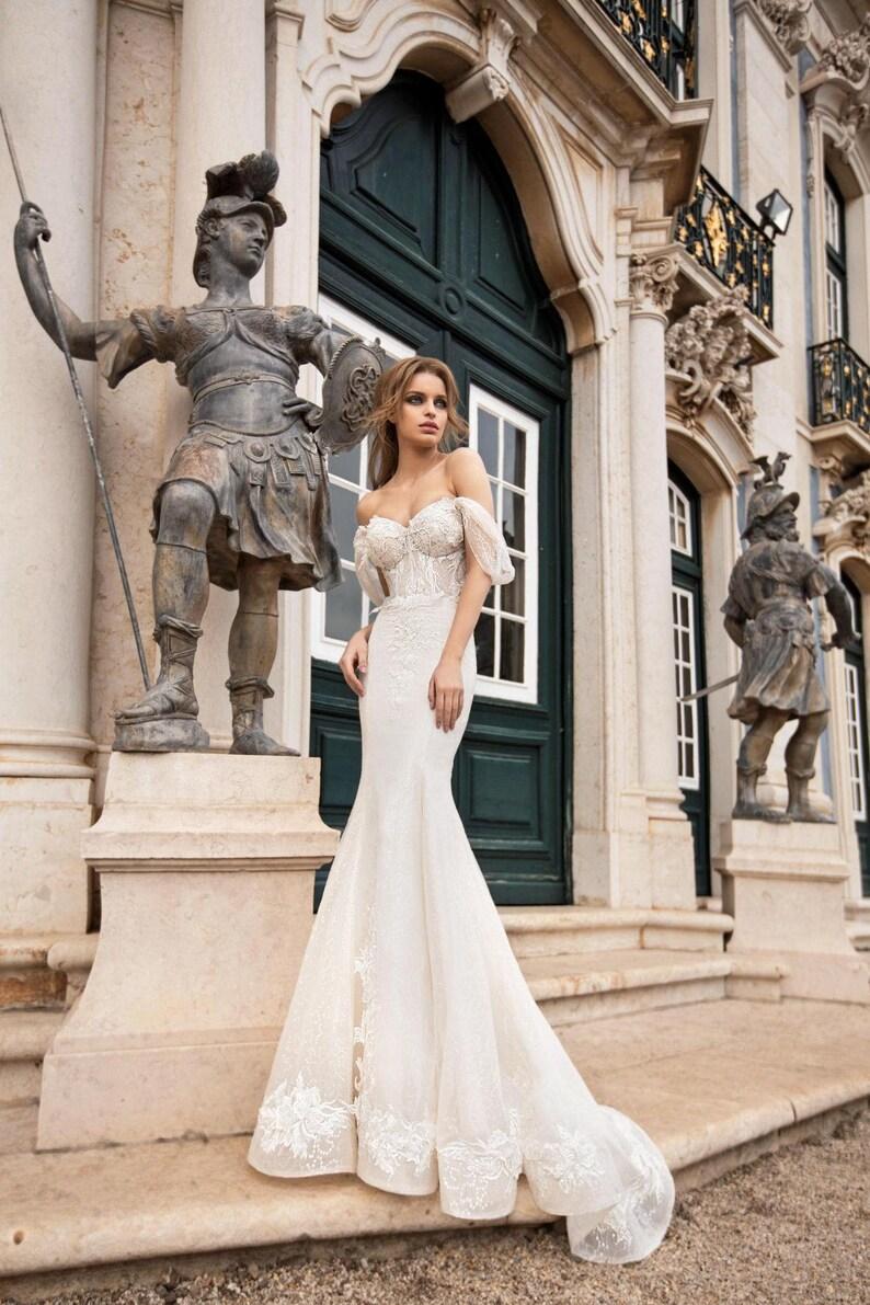 29fb0affbea Mermaid wedding dress detachable train Mermaid wedding gown