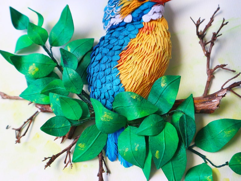 3d paper bird kingfisher paper sculpture unique wall art