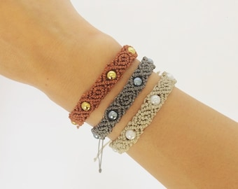 Macrame Bracelet with Rose Pattern and Beads