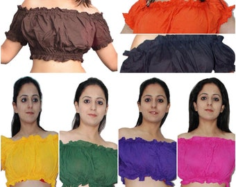 61447a1edd81cb 5 Pcs Belly Dance Cotton Puff Sleeve Crop Top - Choose your color variation