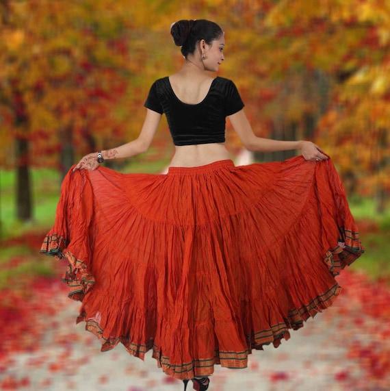 25 YARD SKIRT TRIBAL BELLY DANCE 4 TIER JODHA MAHARANI SKIRT