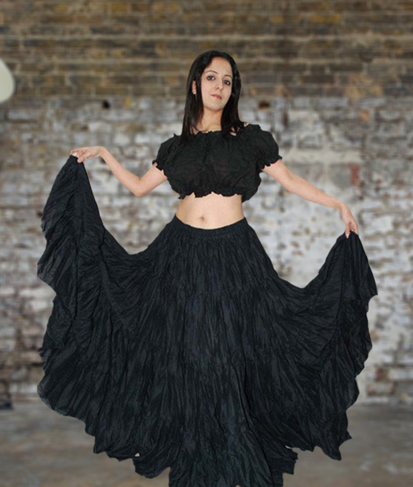 Details about  /NAVY BLUE Cotton Tribal Fusion Gypsy 25 Yard 4 Tier Skirt Belly Dancing ATS JUPE