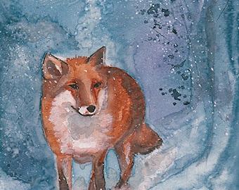Winter Fox watercolour print