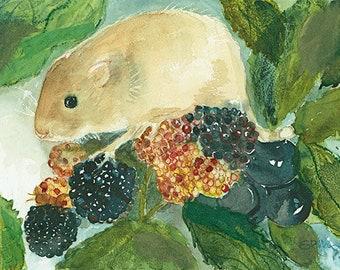 Harvest Mouse mixed media print
