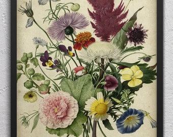 Boquet Of Flowers Wall Art -Antique Floral Prints - Floral Printable Art - Vintage Botanical Art - Single Print #1 - INSTANT DOWNLOAD