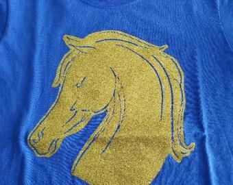 Gold Glitter Horse Head on Blue