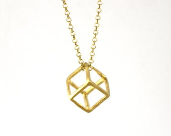 Geometric Cube Shaped 3D Pendant