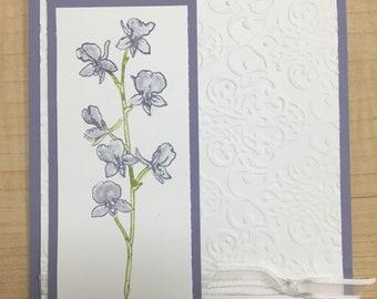 Purple Flower Sympathy Card - Handmade