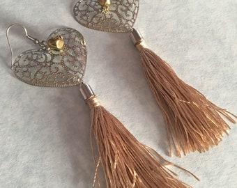 Pale gold tassel earrings