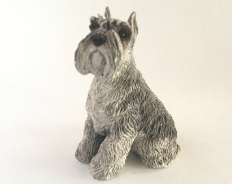 Quirky Dressed up Schnauzer Figurine Ornament Steampunk Vintage Dog Lovers Gift