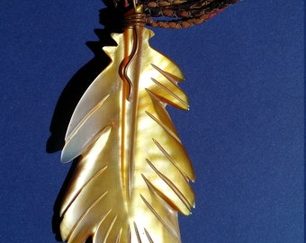 Feather Pendant carved from Mother of Pearl