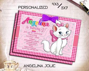 Marie Cat,Marie Cat Invitation,Marie Cat Printable,Marie Cat Card,Marie Cat Birthday,Marie Cat Party,Girl Invitation,Girl,Invite