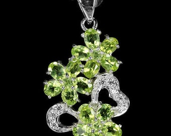 Natural AAA Green Peridot & White CZ Sterling 925 Silver Flower Pendant